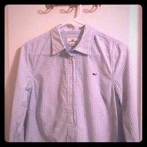Ladies blue check half button up business shirt